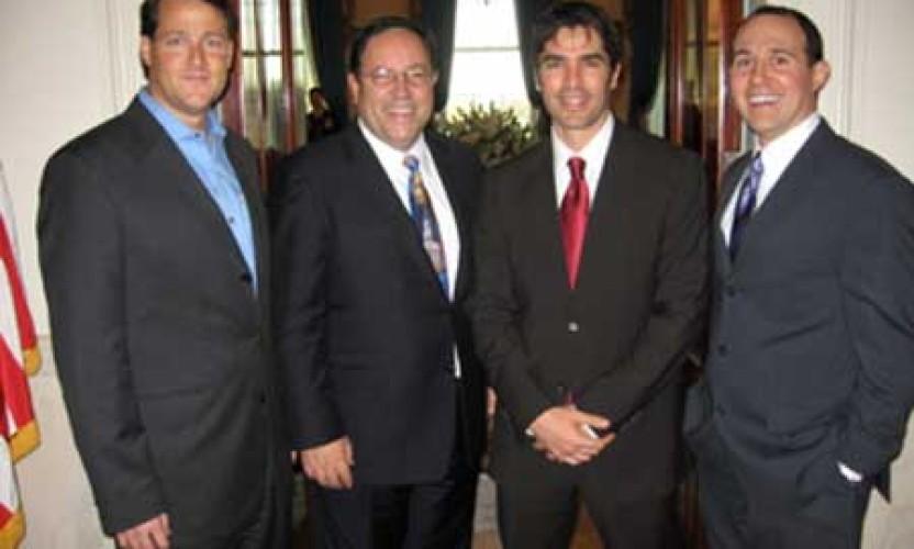 Sean Wolfington, Bob Unanue, Eduardo Verastegui & Raymond Arroyo