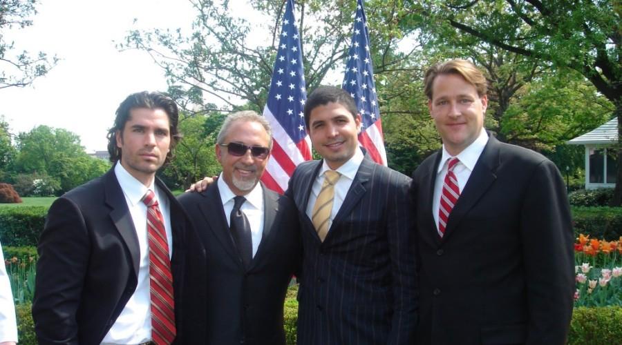 Emelio Estefan, Eduardo Verastegui and Sean Wolfington at the White House