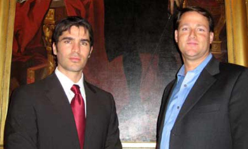 Eduardo Verastegui & Sean Wolfington with George Washington Painting In The White House
