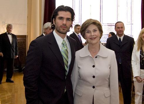 Eduardo Verastegui and First Lady Laura Bush