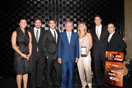 Tony Bennett gives Bella team Award (Ali Landry, Alejandro Monteverde, Eduardo Verastegui, Tony Bennett, Susan Benedetto, Sean Wolfington, and Ana Wolfington